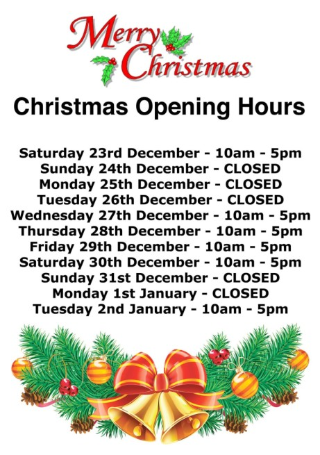 We reopen on WEDNESDAY 27th DECEMBER at 10am.