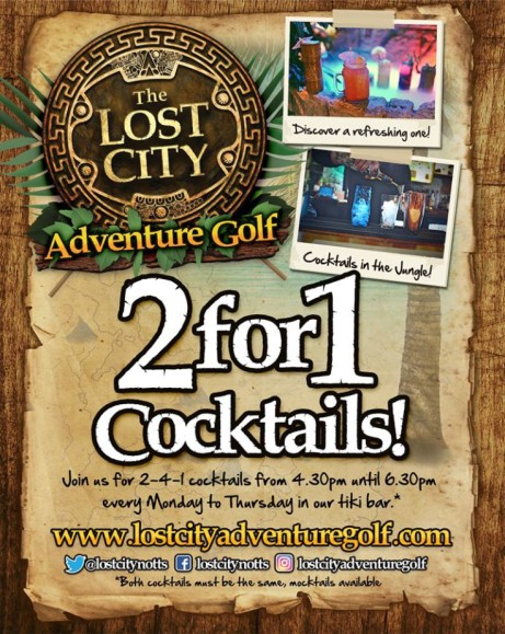 Monday is nearly over, so treat yourself to 2-4-1 cocktails at the Lost City!