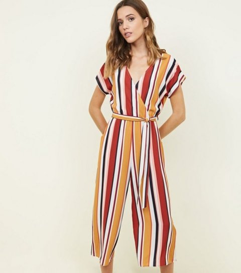 Save £ 17.99 - White Multi Stripe Belted Culotte Jumpsuit