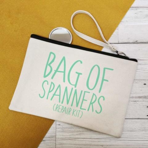 BAG OF SPANNERS CANVAS MAKE UP BAG.