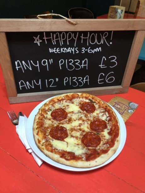 "Join us for Happy Hour 3-6pm Weekdays - Enjoy a 9"" Pizza for just £3!"