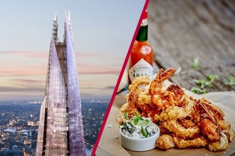 OVER 40% OFF - The View from The Shard with 3 Course Michelin Dining and Bubbles for 2!