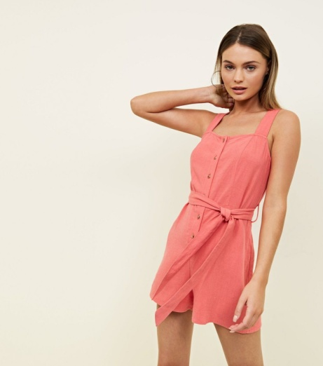 SAVE 30% OFF Coral Linen-Look Button Through Playsuit!