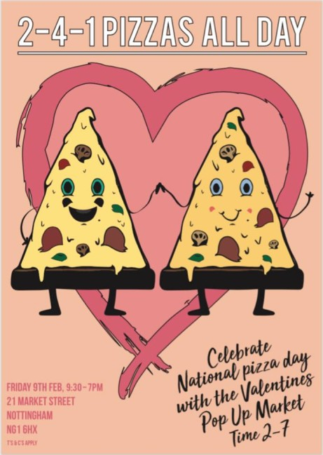 To Celebrate National Pizza Day on the 9th of February we are serving 2-4-1 Pizzas All Day- Book Now