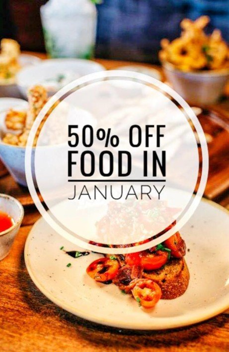50% off food & a drink on us at all our bars!