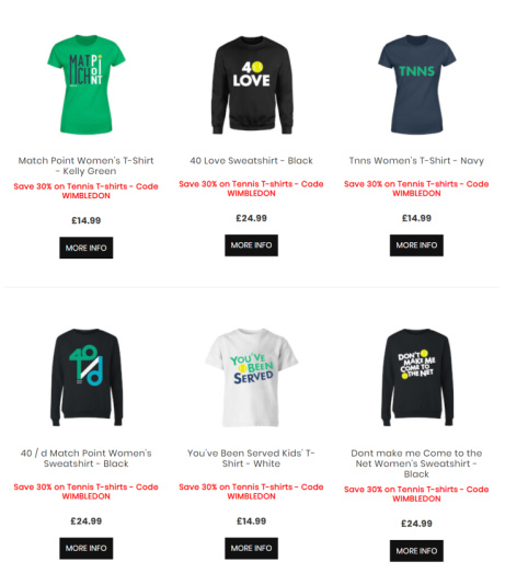30% off Tennis T-Shirts and Tops