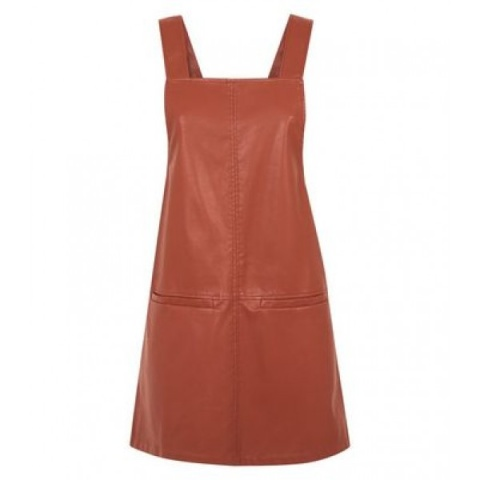 SAVE £5.75 - Tan Leather-Look Pinafore Dress