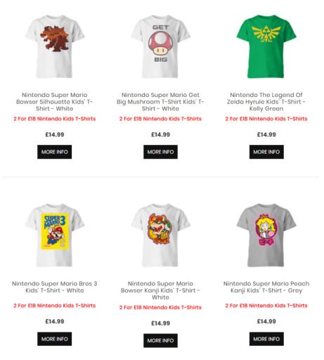 2 For £18 Nintendo Kids T-Shirts