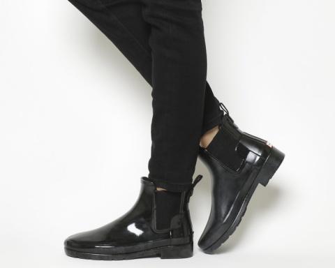 SALE - Womens Hunter Original Refined Chelsea Black Gloss Uk Size 7!