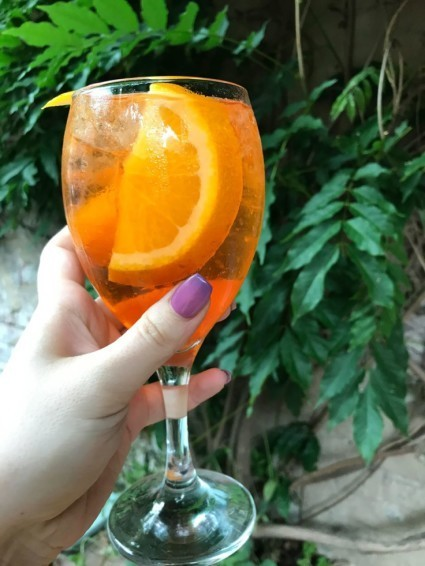 Some delicious Prosecco cocktails on offer, like this tasty Aperol Spritz!