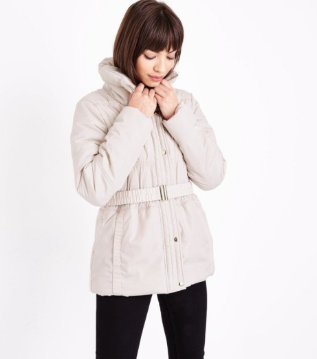 SALE - Cream High Neck Belted Puffer Jacket: Save £31.99!