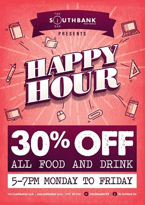 The Southbank Bar Trent Bridge - Happy Hour 5-7 pm 30% OFF Food!
