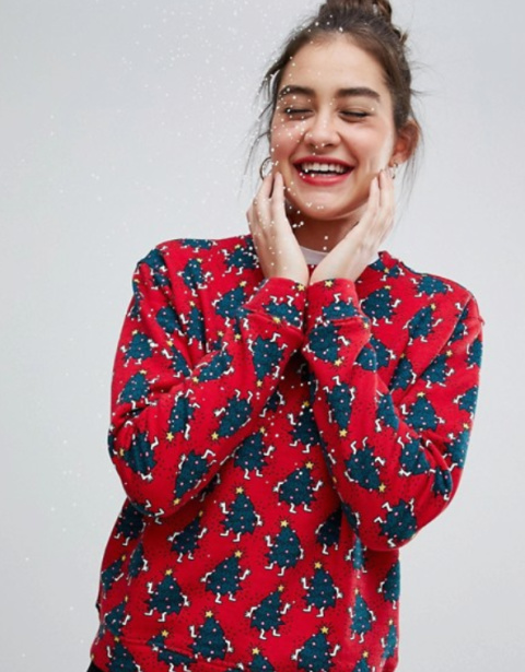 Monki xmas tree sweat in red