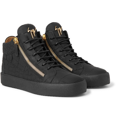 SAVE 50% OFF GIUSEPPE ZANOTTI Logoball Croc-Effect Leather High-Top Sneakers!