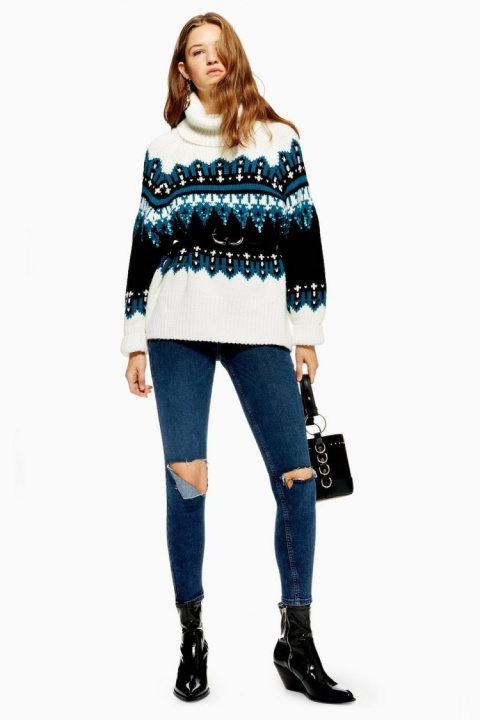 KNIT WEAR - Sequin Oversized Fair Isle Jumper £59.00