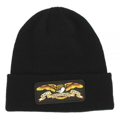 Anti Hero Eagle Patch Cuff Beanie Black - £24.00!