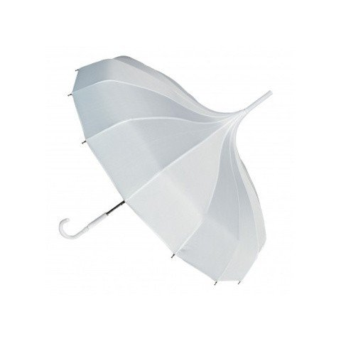 BLOOMING BROLLIES BOUTIQUE PLAIN PAGODA STICK UMBRELLA - WHITE: £16.95!