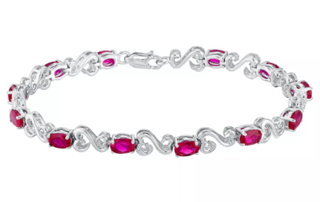 OVER 60% OFF - Open Hearts Silver Diamond & Created Ruby Bracelet!