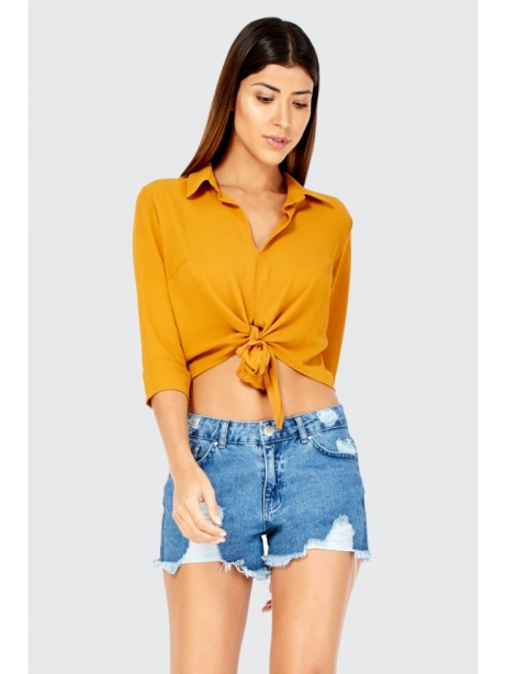 SAVE OVER 35% on these Crepe Crop Tie Front Shirts!