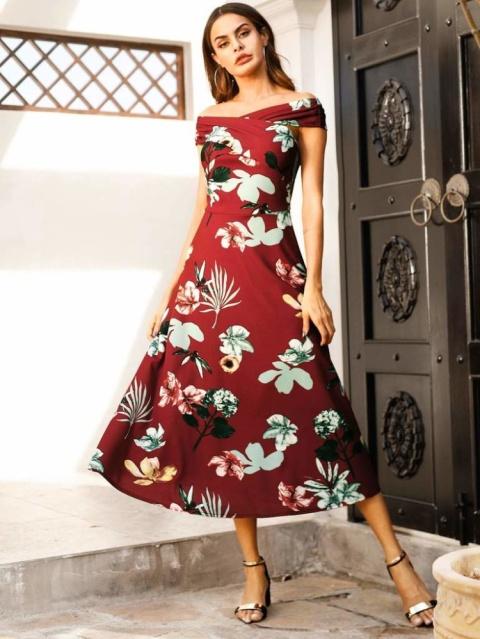 Floral Print Off The Shoulder Crossover Dress