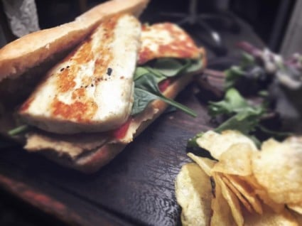 Our Hummus, Red pepper and caramelised onion ciabatta sandwich... with added halloumi