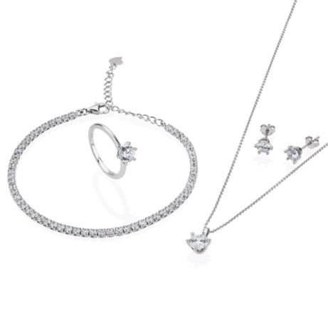 SAVE £100.05 ON Valentines Gifts - TJH Collection (Sterling Silver 6 Claw Cubic Jewelry Set)!