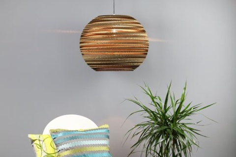 "Large sphere lampshade (20"") made from recycled cardboard: £225.00!"