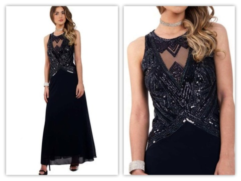 NAVY MESH EMBELLISHED BODICE CHIFFON PROM DRESS