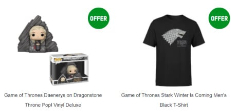 FREE Game of Thrones T-shirt with a Deluxe Daenerys on Dragonstone Throne Pop! Vinyl!