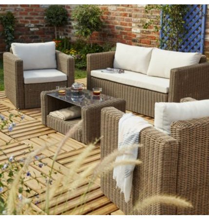 REDUCED TO CLEAR - SAVE £34.00: SORON RATTAN 4 SEATER COFFEE SET