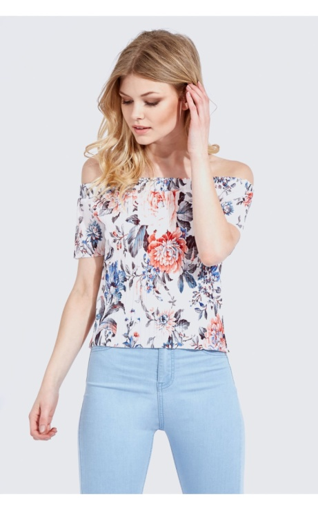 SAVE 69% OFF Floral pleated bardot top!