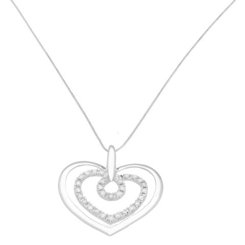 9Carat White Gold 0.25ct Diamond Heart Pendant w/ 18″ Curb Chain (1mm Wide)