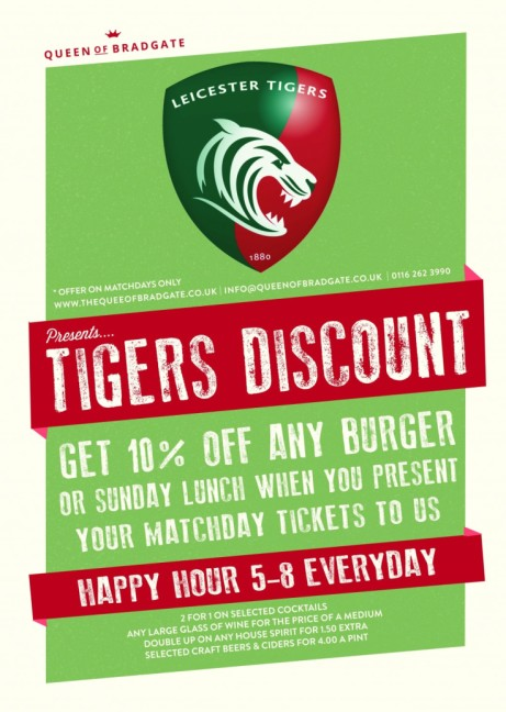Tigers Discount! Get 10% off any burger or Sunday Lunch when you present your match day ticket.