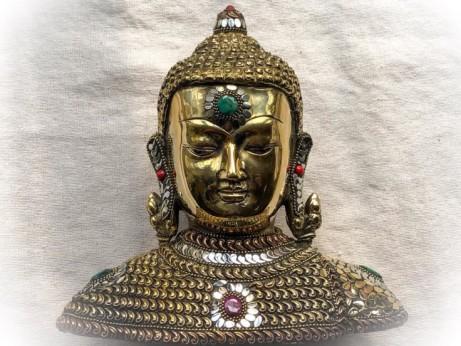 Solid Brass Buddha Set with Semiprecious Stones £85.00!