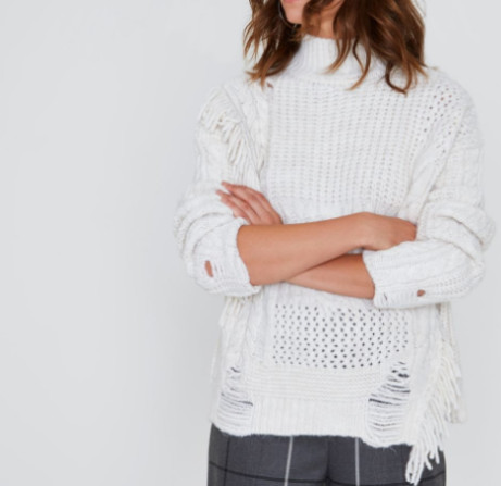 SALE - Cream Mixed Stitch Fringe Cable Knit Jumper - NOW £15!