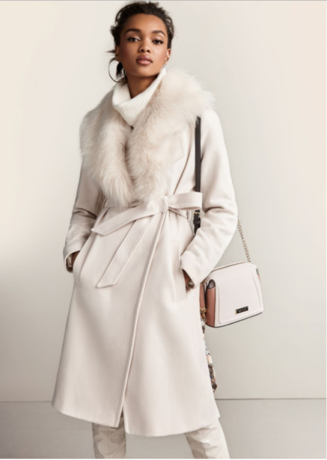 Cream Faux Fur Collar Belted Robe Coat - Just £90.00!