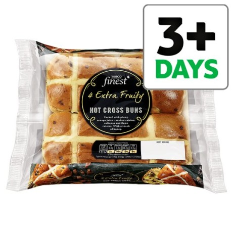 Get ready for Easter - Tesco Finest 4 Extra Fruity Hot Cross Buns just £1.50!