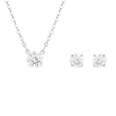 Mothers Day Gift Idea - Swarovski Crystal Attract Rhodium Plated Stud Earrings and Pendant Set - £85