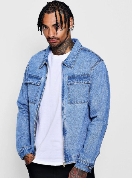 SAVE 66% on this Dele Zip Through Double Pocket Denim Shacket!