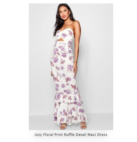SAVE 40% OFF Izzy Floral Print Ruffle Detail Maxi Dress!