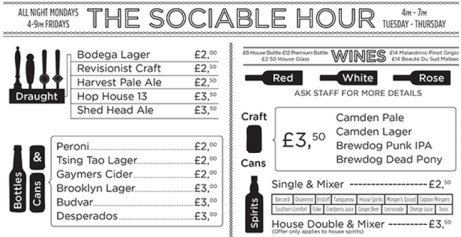 Happy Hour drinks prices all night- A selection of drinks starting at £2
