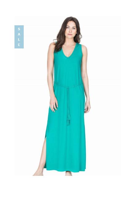 SAVE £70.00: Lilla P Pima Modal Maxi Tank Dress – Mallard Green