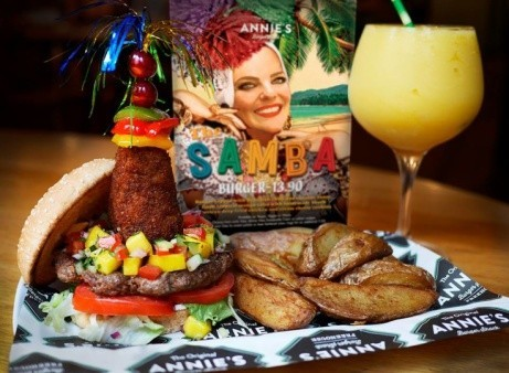 Annie's August special is available right now: We are proud to present, The Samba Burger!