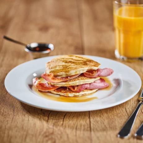 Pancakes for breakfast?! Hell yeah! Grab your FREE tea/americano with every breakfast purchased!