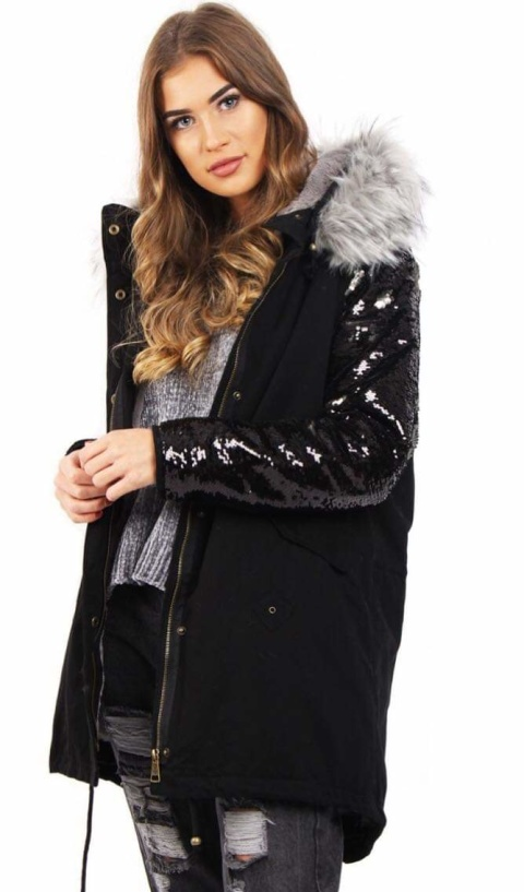 BLACK PARKA WITH GREY FAUX FUR HOOD & SEQUIN ARMS