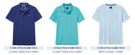 3 FOR 2 - Men's Polos and T-Shirts - SAVE up to £55!