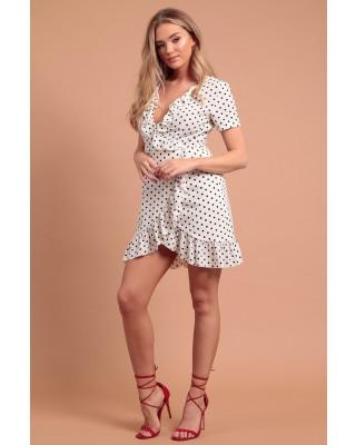 POLKA DOT WRAP FRILL DRESS