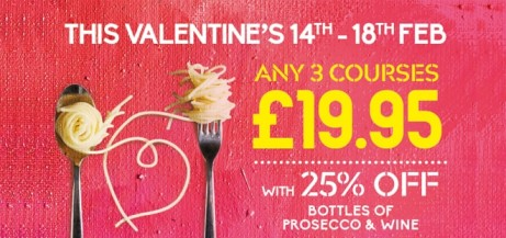SHARE THE LOVE THIS VALENTINE'S - Any 3 courses for £19.95 Available 14th - 18th Feb