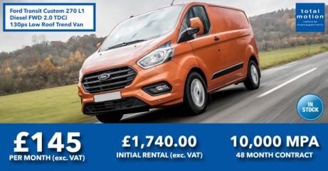 Ford Transit Custom Low Roof Trend Van | Business Leasing Offer