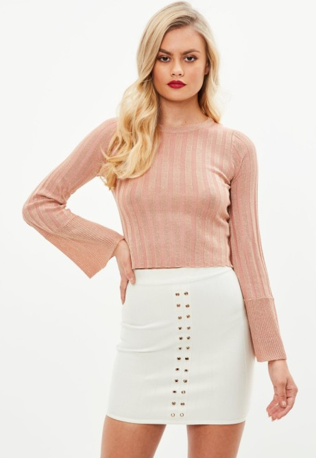 Save 50% on this Pink Ribbed metallic cropped jumper
